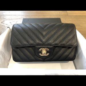 Chanel chevron caviar with ghw mini rectangular